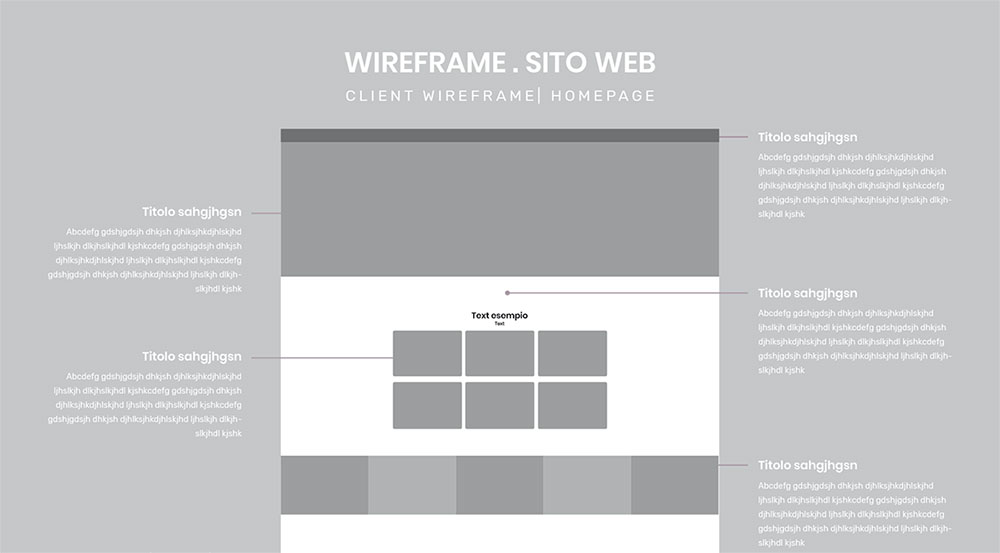 wireframe mock-up sito web